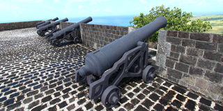 De Vesting van de Heuvel van de zwavel - Heilige Kitts Royalty-vrije Stock Fotografie