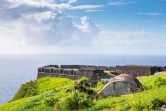 De Vesting van de zwavelheuvel in St Kitts Stock Afbeeldingen