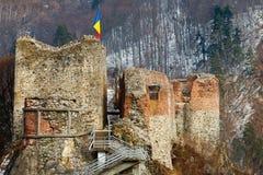 De vesting van Dracula in Poienari, Stock Foto's