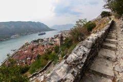 De vesting van heilige John in Kotor, Montengro stock foto's