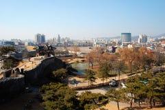 De Vesting van Hwaseong, mening vanaf bovenkant Royalty-vrije Stock Foto