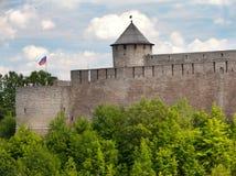 De vesting van Ivangorod bij de grens van Rusland en Estonia stock afbeelding