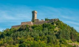 De Vesting van La Rocca in Radicofani, Toscanië, Italië stock fotografie