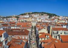 De vesting van Lissabon van de mening van Heilige George, Portugal Castelo DE Sao Jorge Stock Afbeeldingen