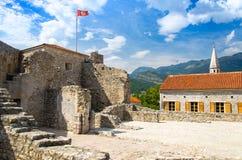 De vesting van de steencitadel in Oude stad Budva, Adriatische Riviera, Mont royalty-vrije stock afbeeldingen