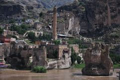 De vestingsmuur van de Byzantijnse vesting in de stad van Diyarbakir stock afbeelding