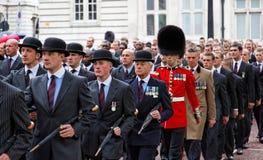 De veteranen paraderen. Londen. het UK. Stock Fotografie