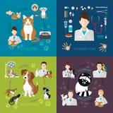 De veterinaire die vlakte plaatste met kat en hond de kliniek van de het ziekenhuisgeneeskunde op achtergrond wordt geïsoleerd Stock Foto's