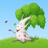 De vette het glimlachen berk laat uit een lieveheersbeestje in de hemel stock illustratie