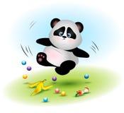 De vettige en onhandige panda draagt dalingen over huisvuil stock afbeeldingen