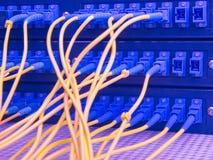 De vezelkabel dient met technologiestijl tegen optische vezel Royalty-vrije Stock Fotografie
