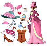 De Victoriaanse inzameling van de damemanier in beeldverhaalstijl Uitstekend kledings vastgesteld korset, schoenen, hoed, parfum, royalty-vrije illustratie