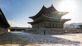 De video van de tijdtijdspanne van Gyeongbokgung-Paleis in Seoel, Zuid-Korea timelapse 4K stock videobeelden