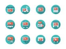 De video vlakke ronde pictogrammen van reclameplaatsen royalty-vrije illustratie