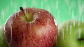 In de video zien wij appelen, water die vanaf bovenkant als regen toen als golven, close-upmening, groene achtergrond vallen stock video