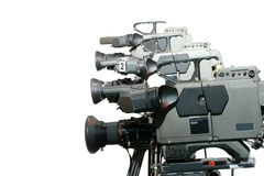 De Videocamera's van de studio in een lijn royalty-vrije stock afbeeldingen
