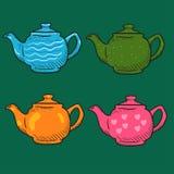 De vier gekleurde Krabbel van de beeldverhaaltheepot Royalty-vrije Stock Fotografie