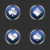 De vier pictogrammen van speelkaartkostuums Royalty-vrije Stock Fotografie