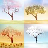 De vier Seizoenenlente, de Zomer, de Herfst, de Winterbanners met Abstracte Bomen - Vectorillustratie stock illustratie