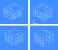 De vier-verhaal bouw met vier kanten schematische tekening Royalty-vrije Stock Afbeeldingen