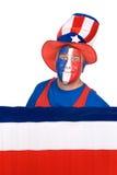 De vierde patriot van juli op wit Stock Foto