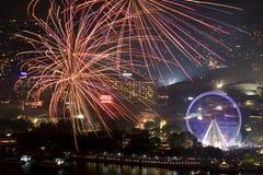De Viering 2011 van Brisbane Riverfire Stock Afbeelding