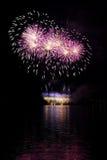 De viering met vuurwerk toont Stock Afbeeldingen