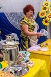 De viering van Dag van honing in de Russische stad van Medyn, Kaluga-gebied op 14 Augustus, 2016 Royalty-vrije Stock Foto's
