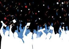 De viering van de graduatie in silhouet Royalty-vrije Stock Foto