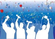 De viering van de graduatie in silhouet Stock Afbeeldingen