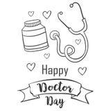De viering van de hand van de artsendag trekt vector illustratie