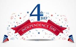 De viering van de onafhankelijkheidsdag met confettien Stock Foto's