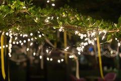 De viering van decoratie het lichte Kerstmis hangen op boom Stock Afbeeldingen