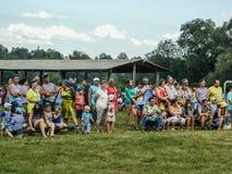De viering van een Russische militaire vakantie - de dag van krachten in de lucht op 2 Augustus 2016 in regi van dorpskremenskaya Royalty-vrije Stock Afbeelding
