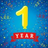 de viering van de 1 jaarverjaardag met gekleurde ballon & confettien Royalty-vrije Stock Fotografie