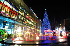 De viering van Kerstmis bij Centrale wereld Stock Foto's