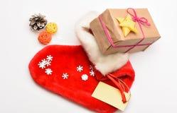 De Viering van Kerstmis Van de Kerstmissok witte hoogste mening als achtergrond Vul sok met giften of stelt voor Kleine punten op royalty-vrije stock foto's
