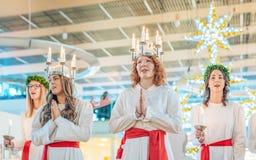 De viering van Lucia in Zweden stock foto's