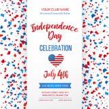 De viering van de onafhankelijkheidsdag Vierde van Juli De traditionele Amerikaanse kaart van de vakantiegroet, affiche, vlieger  royalty-vrije illustratie