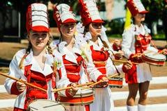 De viering van Victory Day in Wereldoorlog 2 kan 9, 2016, in het Gomel-gebied van de Republiek Wit-Rusland Stock Afbeeldingen