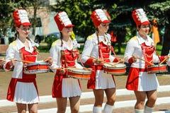 De viering van Victory Day in Wereldoorlog 2 kan 9, 2016, in het Gomel-gebied van de Republiek Wit-Rusland Stock Fotografie