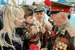 De viering van Victory Day in Wereldoorlog 2 kan 9, 2016, in het Gomel-gebied van de Republiek Wit-Rusland Stock Foto's