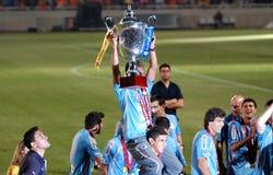 De vieringen van het kampioenschap van APOEL club, CYPRUS stock foto's