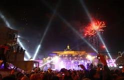 De vieringen van het nieuwjaar in Berlijn, Duitsland Stock Afbeeldingen