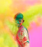 De vieringen van Holi in India. Stock Foto's