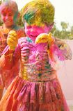 De vieringen van Holi in India. Stock Fotografie