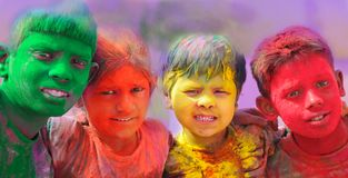 De vieringen van Holi in India. royalty-vrije stock foto's