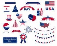 De vierings vlakke nationale die symbolen van de V.S. voor onafhankelijkheidsdag worden geplaatst op witte achtergrond wordt geïs Stock Afbeeldingen