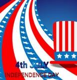 De vieringsachtergrond van de onafhankelijkheidsdag met een hoed en een Amerikaanse vlag Royalty-vrije Stock Afbeeldingen