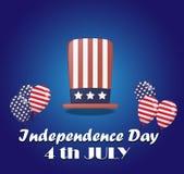 De vieringsachtergrond van de onafhankelijkheidsdag met een hoed en ballons Stock Afbeeldingen